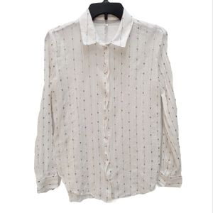 Feather Bone Anthro White Sequin Button Up Top XS